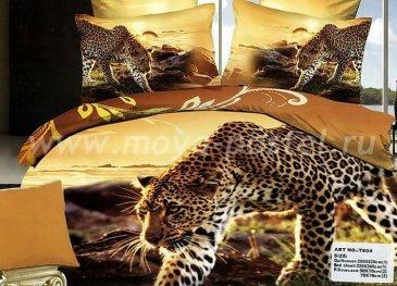 Кпб сатин Евро 2 наволочки (леопард идет по следу) в интернет-магазине Моя постель