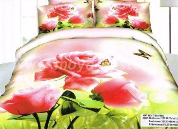 Постельное белье евро стандарта сатин 2 наволочки (роза и бабочка) в интернет-магазине Моя постель