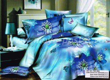 Кпб сатин Евро 2 наволочки (бабочки на синих цветах) в интернет-магазине Моя постель