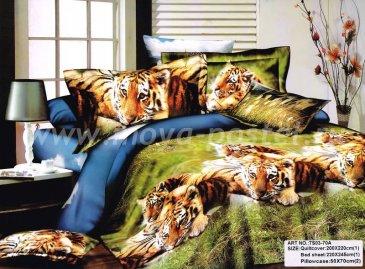 Кпб сатин Евро 2 наволочки (тигры на полянке) в интернет-магазине Моя постель