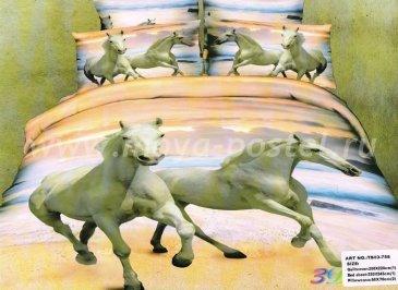 Кпб сатин Евро 2 наволочки (лошади на побережье) в интернет-магазине Моя постель