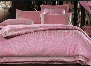КПБ Жаккард евро 4 наволочки (турецкий огурец на розовом) в интернет-магазине Моя постель