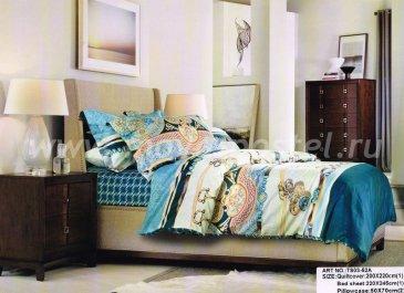 Кпб сатин Семейный 2 наволочки TS05-52A (голубой орнамент) в интернет-магазине Моя постель