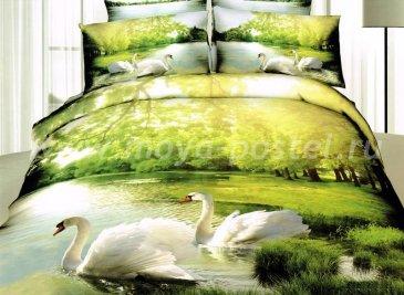 Кпб сатин Семейный 2 наволочки (лебеди в лесу) в интернет-магазине Моя постель
