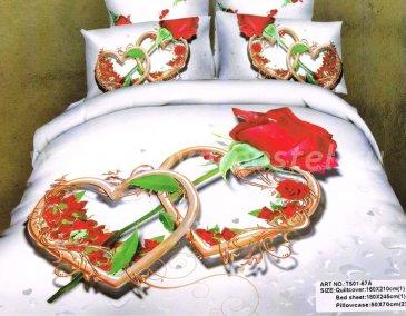 Полуторное постельное белье сатин 50*70 (два сердца и роза) в интернет-магазине Моя постель