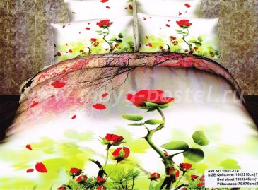 Кпб сатин 1,5 спальный (опадающая роза) в интернет-магазине Моя постель