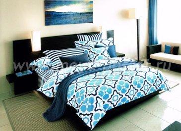 Кпб сатин 2 спальный (сине-голубой узор) в интернет-магазине Моя постель