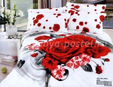 Кпб сатин Евро 2 наволочки (роза и бархатцы) в интернет-магазине Моя постель