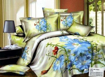 Кпб сатин Евро 2 наволочки (голубые цветы и бабочки) в интернет-магазине Моя постель