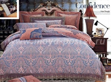 КПБ Жаккард Семейный 2 наволочки (синий орнамент на розовом) в интернет-магазине Моя постель