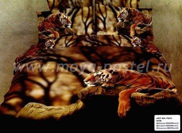 Кпб сатин евро 4 наволочки (тигр на скале) в интернет-магазине Моя постель