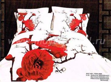 Кпб сатин евро 4 наволочки (красная магнолия) в интернет-магазине Моя постель
