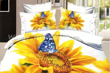Кпб сатин Евро 2 наволочки (бабочка на подсолнухе) в интернет-магазине Моя постель