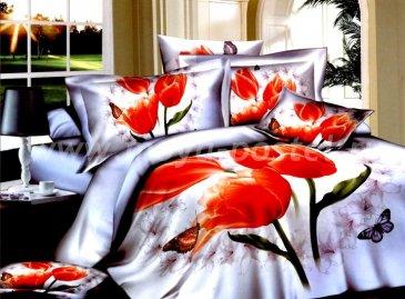 Кпб сатин Евро 2 наволочки (бабочка на красном тюльпане) в интернет-магазине Моя постель