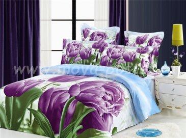 Кпб сатин евро 4 наволочки (фиолетовые тюльпаны) в интернет-магазине Моя постель