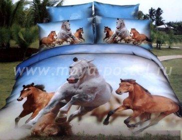 Кпб сатин евро 4 наволочки (табун лошадей) в интернет-магазине Моя постель