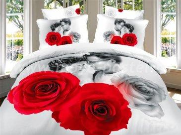 Постельное белье евро стандарта сатин 4 наволочки (влюбленные среди роз) в интернет-магазине Моя постель