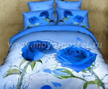 Кпб сатин Семейный 2 наволочки (две голубые розы) в интернет-магазине Моя постель