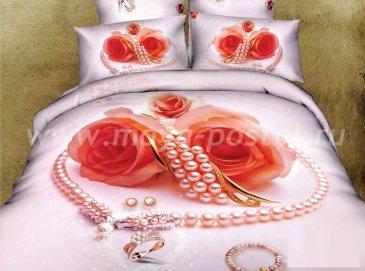 Кпб сатин Семейный 2 наволочки (розы и персиковый жемчуг) в интернет-магазине Моя постель