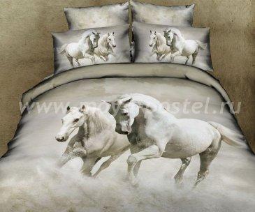 Кпб сатин Семейный 2 наволочки (лошади в тумане) в интернет-магазине Моя постель