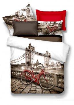 Кпб сатин Семейный 2 наволочки (велосипед в Лондоне) в интернет-магазине Моя постель