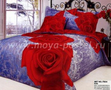 Кпб сатин евро 4 наволочки (роза на фиолетовом) в интернет-магазине Моя постель
