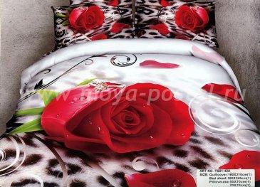 Полуторное постельное белье сатин (роза на леопарде) в интернет-магазине Моя постель