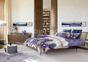 Кпб сатин 2 спальный (беж и синий) в интернет-магазине Моя постель