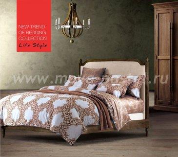 Кпб сатин 1,5 спальный (бежевый орнамент классика) в интернет-магазине Моя постель