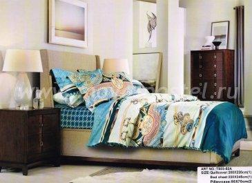 Кпб сатин 2 спальный TS02-52A-50 (голубой орнамент) в интернет-магазине Моя постель