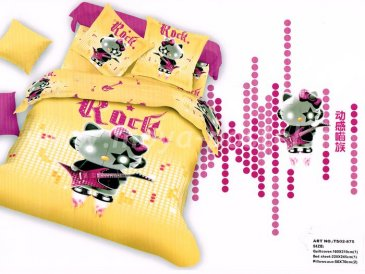 Двуспальное постельное белье сатин 70*70 (Hello Kitty Rock) в интернет-магазине Моя постель