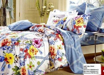 Двуспальное постельное белье сатин 50*70 (цветы и голубые ленты) в интернет-магазине Моя постель