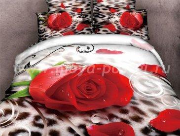 Двуспальное постельное белье сатин 70*70 (роза на леопарде) в интернет-магазине Моя постель