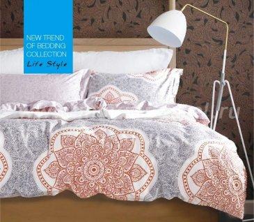 Постельное белье евро стандарта сатин 4 наволочки (мехенди на сером) в интернет-магазине Моя постель