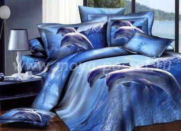 Постельное белье евро стандарта сатин 2 наволочки (два дельфина) в интернет-магазине Моя постель