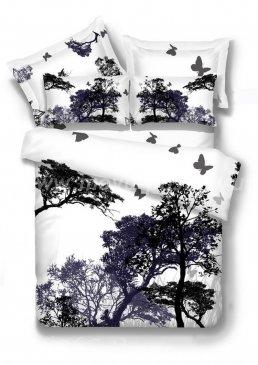 Двуспальное постельное белье TS02-744-70 сатин 7 (силуэты леса) в интернет-магазине Моя постель