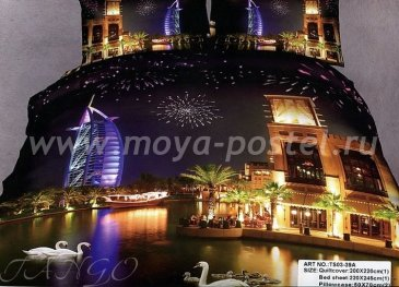Семейное постельное белье сатин 2 наволочки (Ночь в Дубае) в интернет-магазине Моя постель