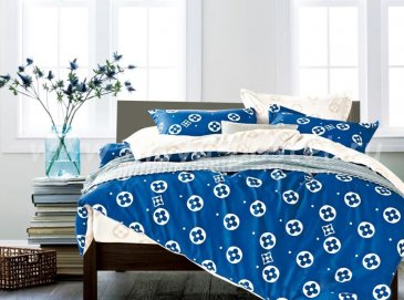 Twill 2 спальный 50*70 (голубой в бежевый горох) в интернет-магазине Моя постель