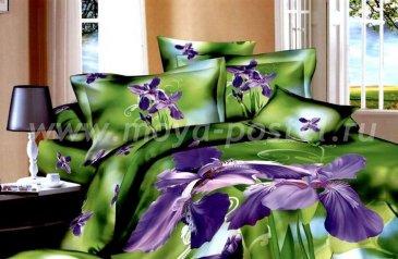 Кпб сатин TS04-826 Евро 2 наволочки (фиолетовые ирисы) в интернет-магазине Моя постель