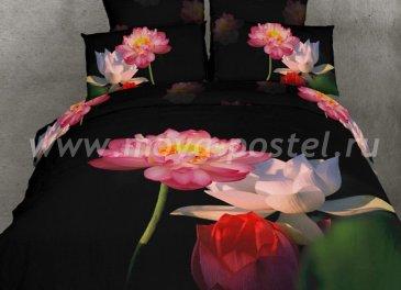 Кпб сатин Евро TS03-201 2 наволочки (розовые кувшинки) в интернет-магазине Моя постель