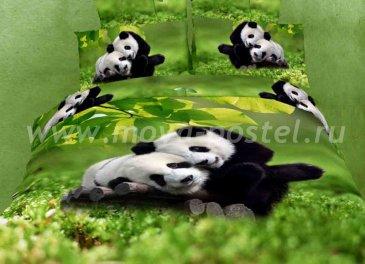 Двуспальное постельное белье сатин TS02-205-50 (панды на лужайке) в интернет-магазине Моя постель