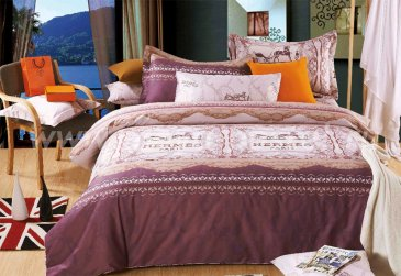 Постельное белье Twill TPIG4-979 полуторное (Hermes Paris бордовый) в интернет-магазине Моя постель