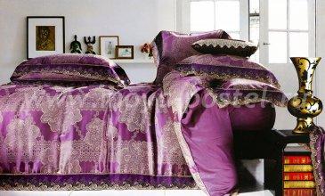 КПБ Жаккард Семейный (фиолетовый с узором под кружево) в интернет-магазине Моя постель