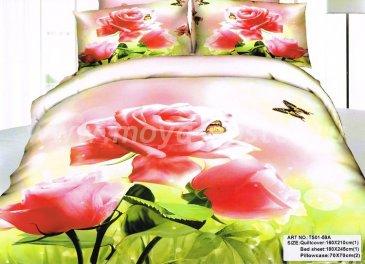 Полуторное постельное белье сатин TS01-59A-50 (роза и бабочка) в интернет-магазине Моя постель