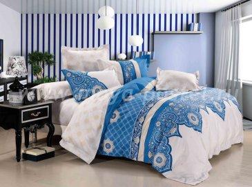 Кпб сатин Евро 2 наволочки TS03-655 (ярко-голубой и кремовый) в интернет-магазине Моя постель