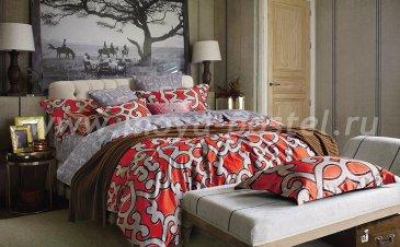 Постельное белье евро стандарта сатин 2 наволочки (бежевый узор на красном) в интернет-магазине Моя постель