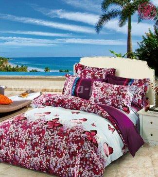 Кпб сатин 2 спальный TS02-416-70 (пурпурные бабочки на лугу) в интернет-магазине Моя постель