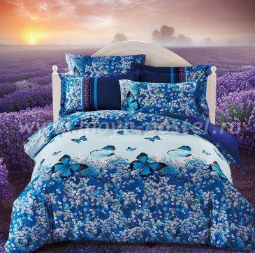 Кпб сатин Евро 2 наволочки TS03-412 (синие бабочки на лугу) в интернет-магазине Моя постель