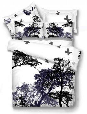 Двуспальное постельное белье TS02-744-50 сатин (силуэты леса) в интернет-магазине Моя постель