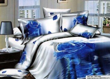 Кпб сатин Евро 2 наволочки TS03-49A (синяя роза с кольцом) в интернет-магазине Моя постель
